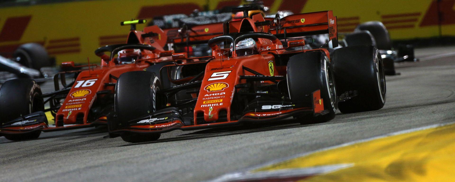 F1 GP Singapore 2019, Marina Bay, Sebastian Vettel e Charles Leclerc (Ferrari)
