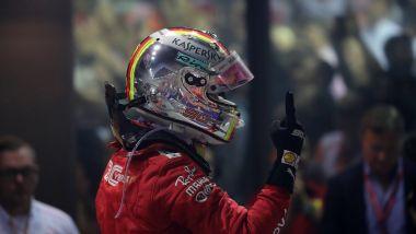 F1 GP Singapore 2019, Marina Bay: Sebastian Vettel (Ferrari) esulta dopo il traguardo