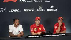 F1 GP Singapore 2019, qualifiche Marina Bay: Lewis Hamilton (Mercedes), Charles Leclerc e Sebastian Vettel (Ferrari)