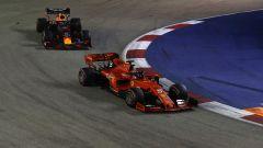 F1 GP Singapore 2019, Sebastian Vettel (Ferrari) in pista sul tracciato asiatico