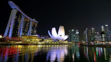 F1 GP Singapore, l'incantevole scenario notturno di Marina Bay