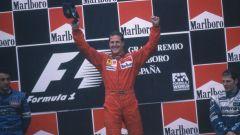 F1 GP Spagna 1996, Barcellona: Michael Schumacher esulta sul gradino più alto del podio