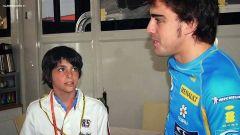 F1, GP Spagna 2003: un piccolo Carlos Sainz con Fernando Alonso