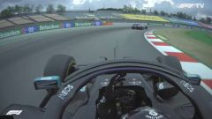 F1 GP Spagna 2020, Barcellona: bandiere blu, Hamilton (Mercedes) si lamenta con Perez (Racing Point)
