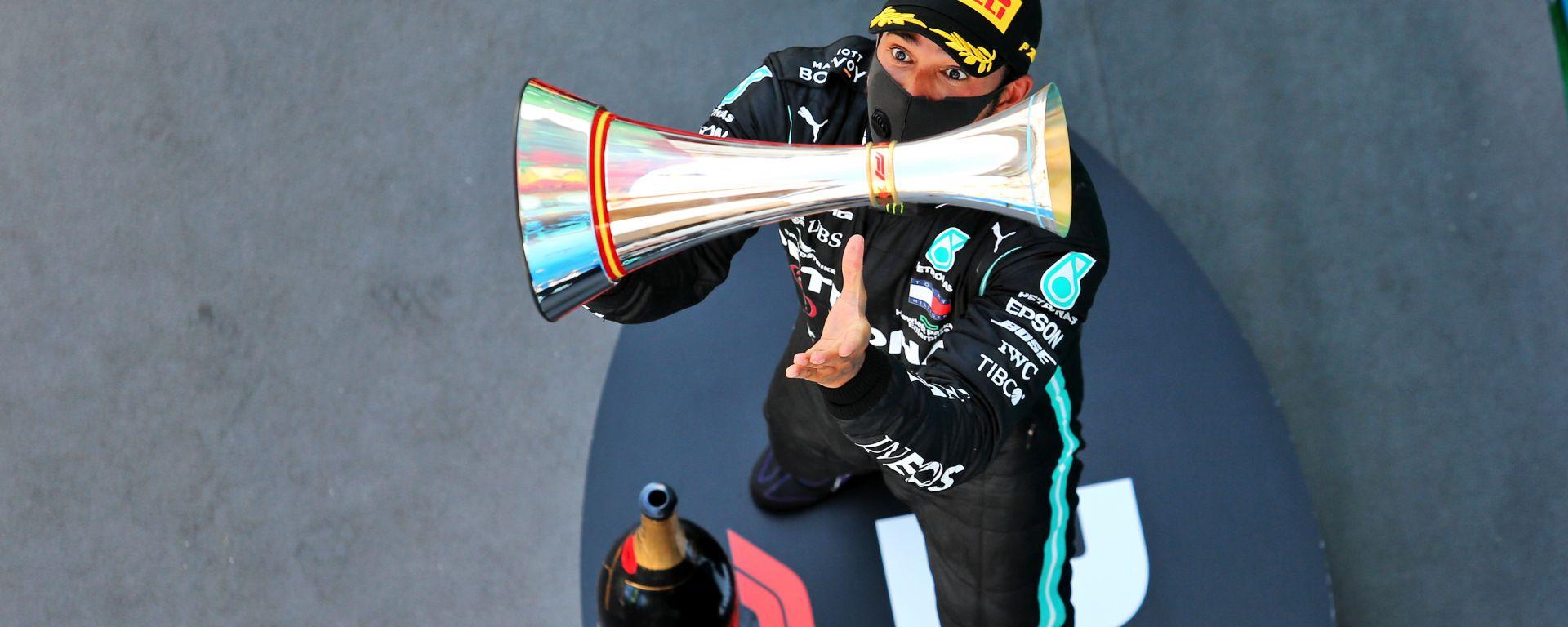 F1 GP Spagna 2020, Barcellona:  i festeggiamenti di Lewis Hamilton (Mercedes AMG F1) sul podio