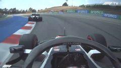 F1 GP Spagna 2020, Barcellona: Kvyat (AlphaTauri) ostacola Magnussen (Haas) in Q1