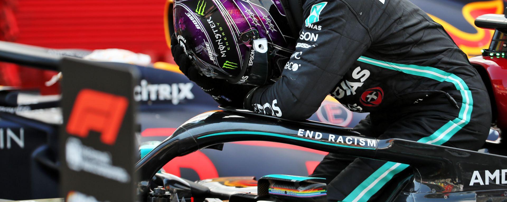F1 GP Spagna 2020, Barcellona: Lewis Hamilton (Mercedes AMG F1) dopo il traguardo