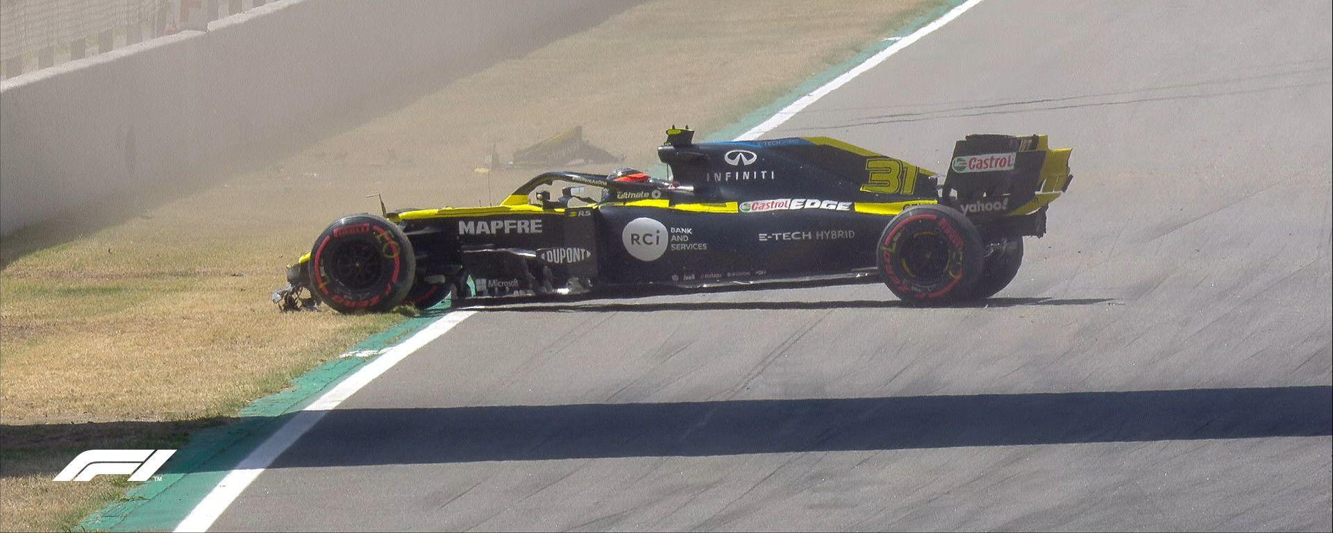 F1 GP Spagna 2020, Barcellona: l'incidente di Esteban Ocon (Renault) nelle PL3