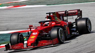F1 GP Spagna 2021, Barcellona: Charles Leclerc (Scuderia Ferrari) nel terzo settore della pista