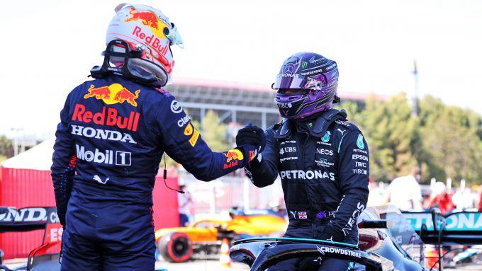 F1 GP Spagna 2021, Barcellona: Lewis Hamilton (Mercedes) e Max Verstappen (Red Bull)