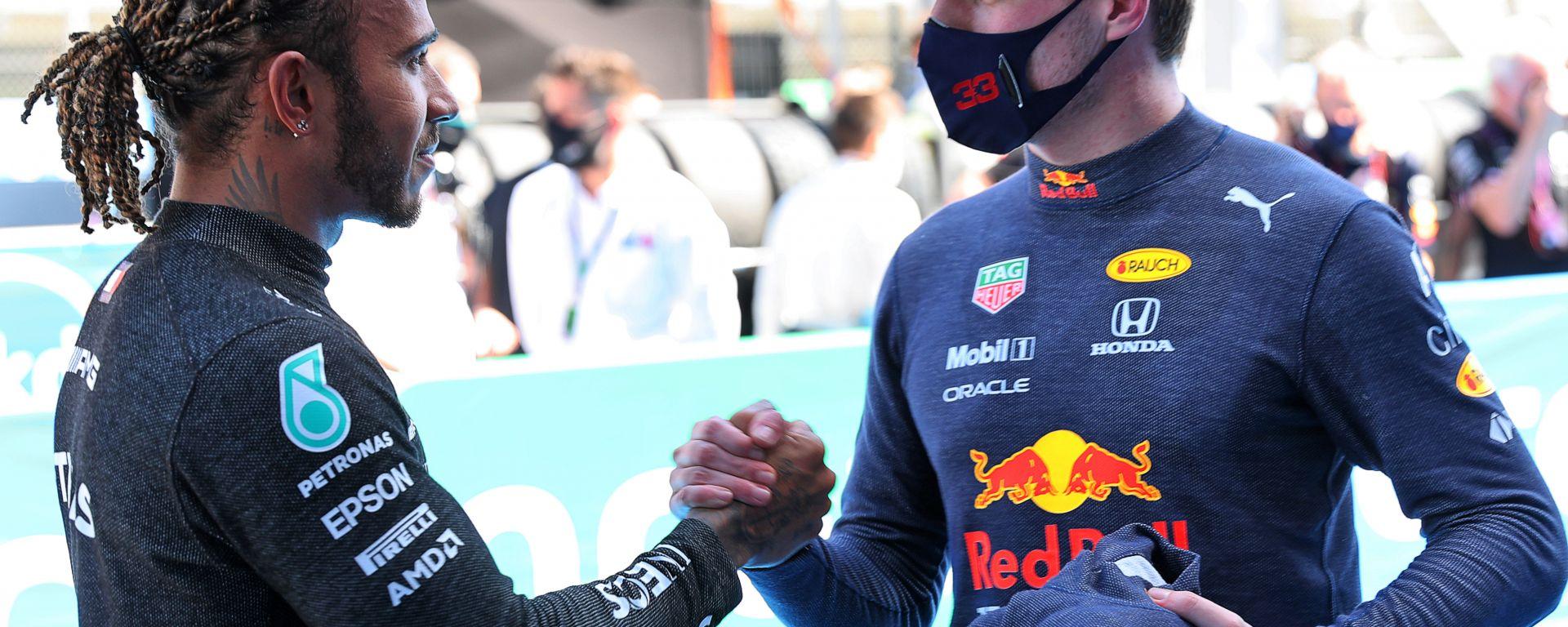 F1 GP Spagna 2021, Barcellona: Max Verstappen (Red Bull) e Lewis Hamilton (Mercedes)