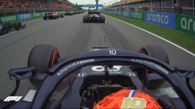 F1 GP Spagna 2021, Barcellona: Pierre Gasly (Scuderia AlphaTauri) posizionato male in griglia