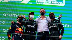 F1, GP Spagna 2021: il podio con Max Verstappen, Lewis Hamilton e Valtteri Bottas