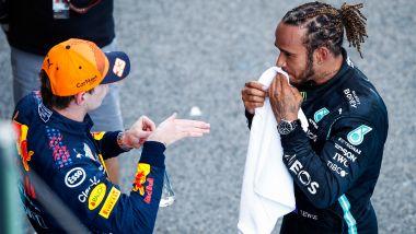 F1 GP Spagna, Barcellona: Lewis Hamilton (Mercedes) e Max Verstappen (Red Bull Racing)