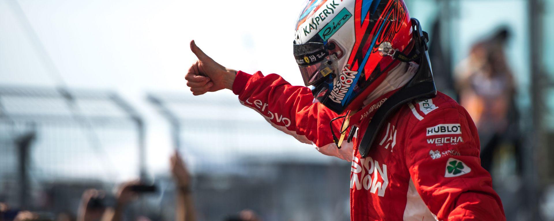 F1 GP Stati Uniti 2018, Austin: Kimi Raikkonen (Ferrari) festeggia dopo il traguardo