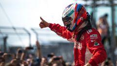 F1, GP Stati Uniti 2018: Kimi Raikkonen (Ferrari) festeggia la vittoria