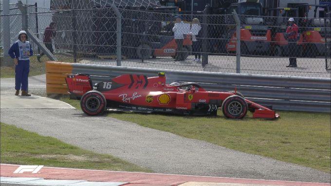 F1 GP Stati Uniti 2019, Austin: la Ferrari di Leclerc parcheggiata durante le PL3