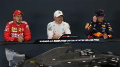 F1 GP Stati Uniti 2019, Austin: Max Verstappen (Red Bull), Valtteri Bottas (Mercedes), Sebastian Vettel (Ferrari)
