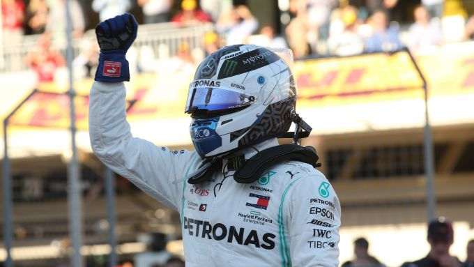 F1 GP Stati Uniti 2019, Austin: Valtteri Bottas (Mercedes) festeggia la pole position