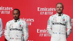F1, GP Stati Uniti 2019: Lewis Hamilton e Valtteri Bottas (Mercedes) sul podio di Austin