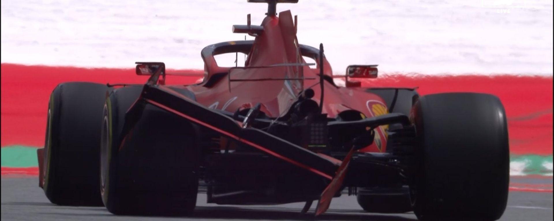 F1, GP Stiria 2020: la Ferrari di Sebastian Vettel danneggiata dallo scontro con Charles Leclerc