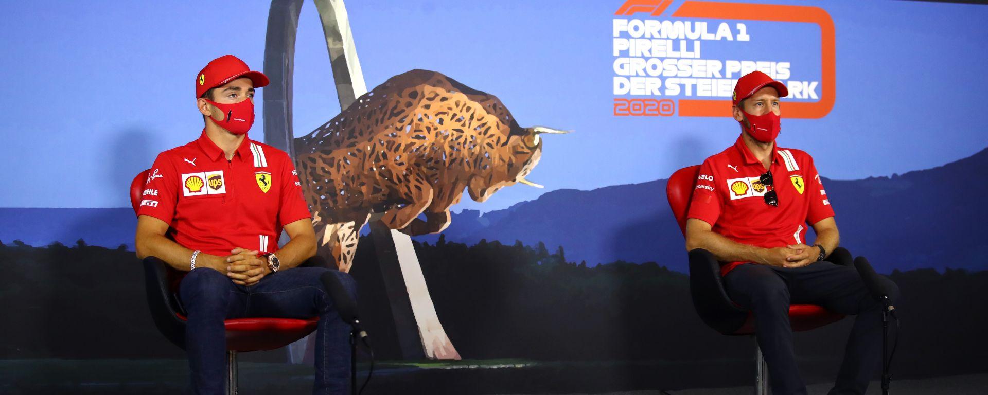 F1 GP Stiria 2020, Red Bull Ring: Charles Leclerc e Sebastian Vettel (Ferrari) in conferenza stampa