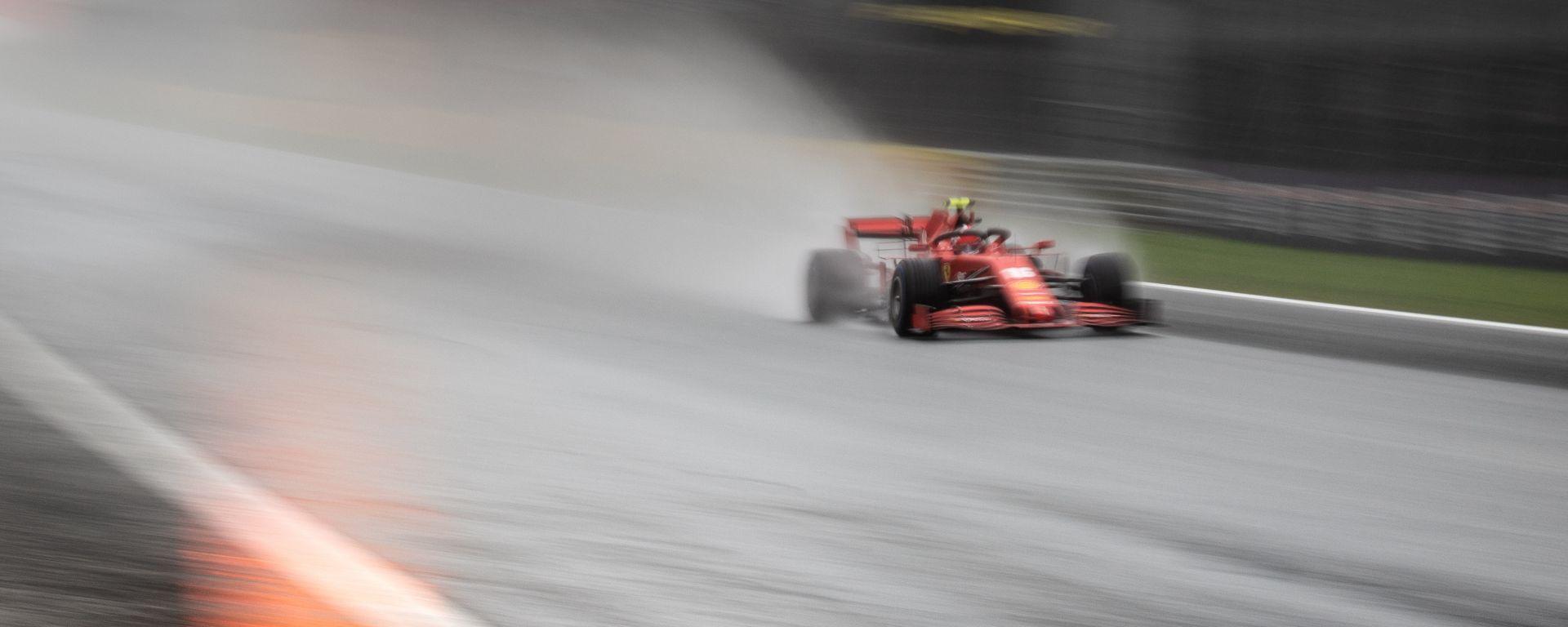 F1 GP Stiria 2020, Red Bull Ring: Charles Leclerc (Ferrari) sotto la pioggia