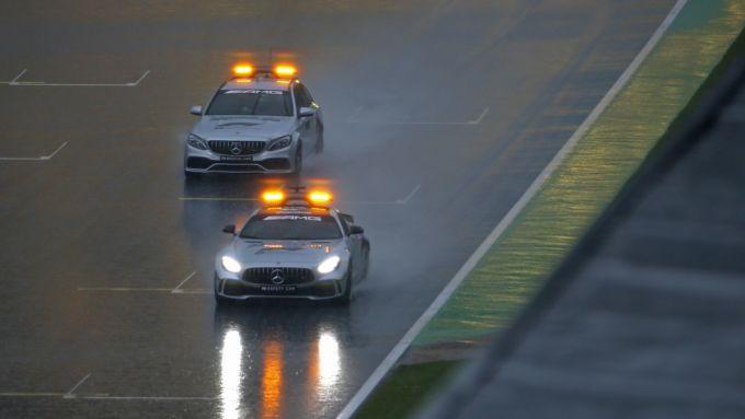 F1 GP Stiria 2020, Red Bull Ring: la Safety Car gira sotto la pioggia battente nelle PL3