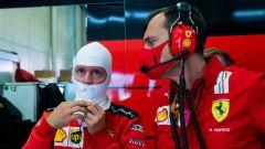 F1 GP Stiria 2020, Red Bull Ring: Sebastian Vettel (Ferrari) e il suo ingegnere Riccardo Adami