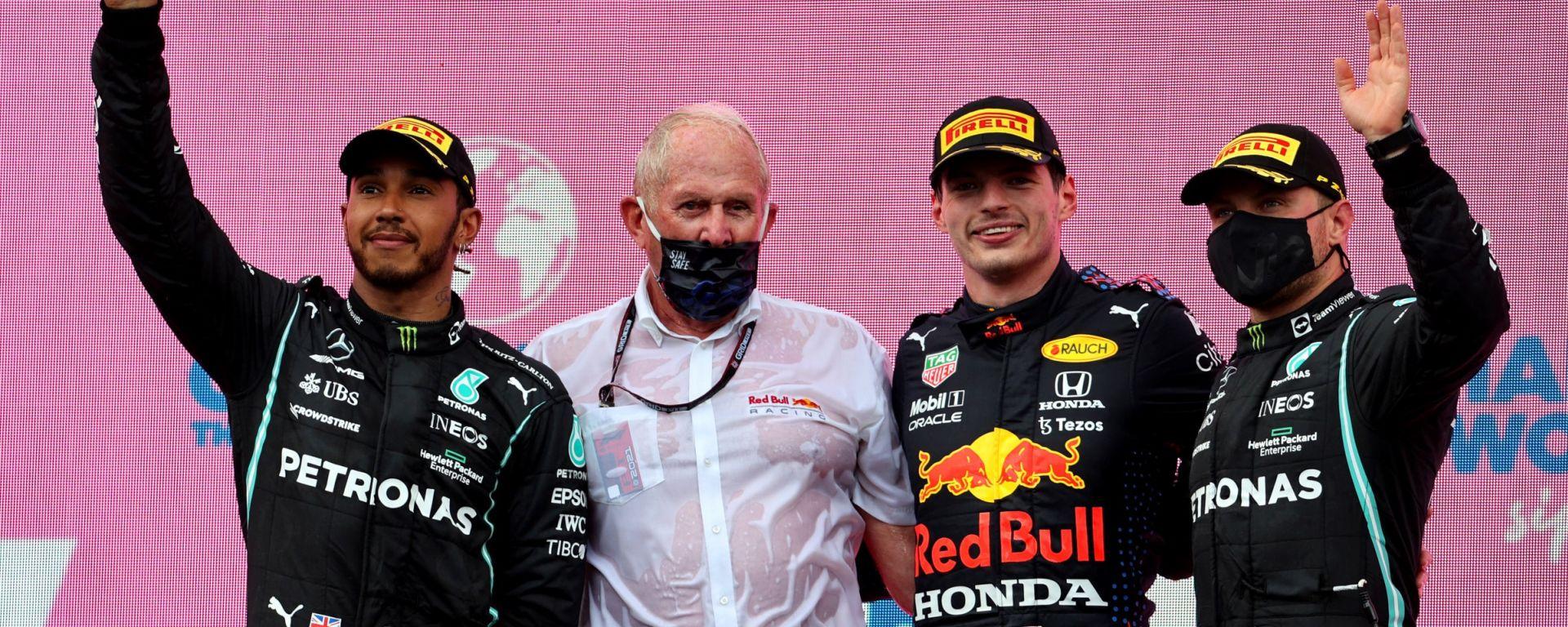 F1, GP Stiria 2021: il podio con Lewis Hamilton, Max Verstappen e Valtteri Bottas