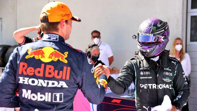 F1 GP Stiria 2021, Spielberg: Max Verstappen (Red Bull) e Lewis Hamilton (Mercedes)