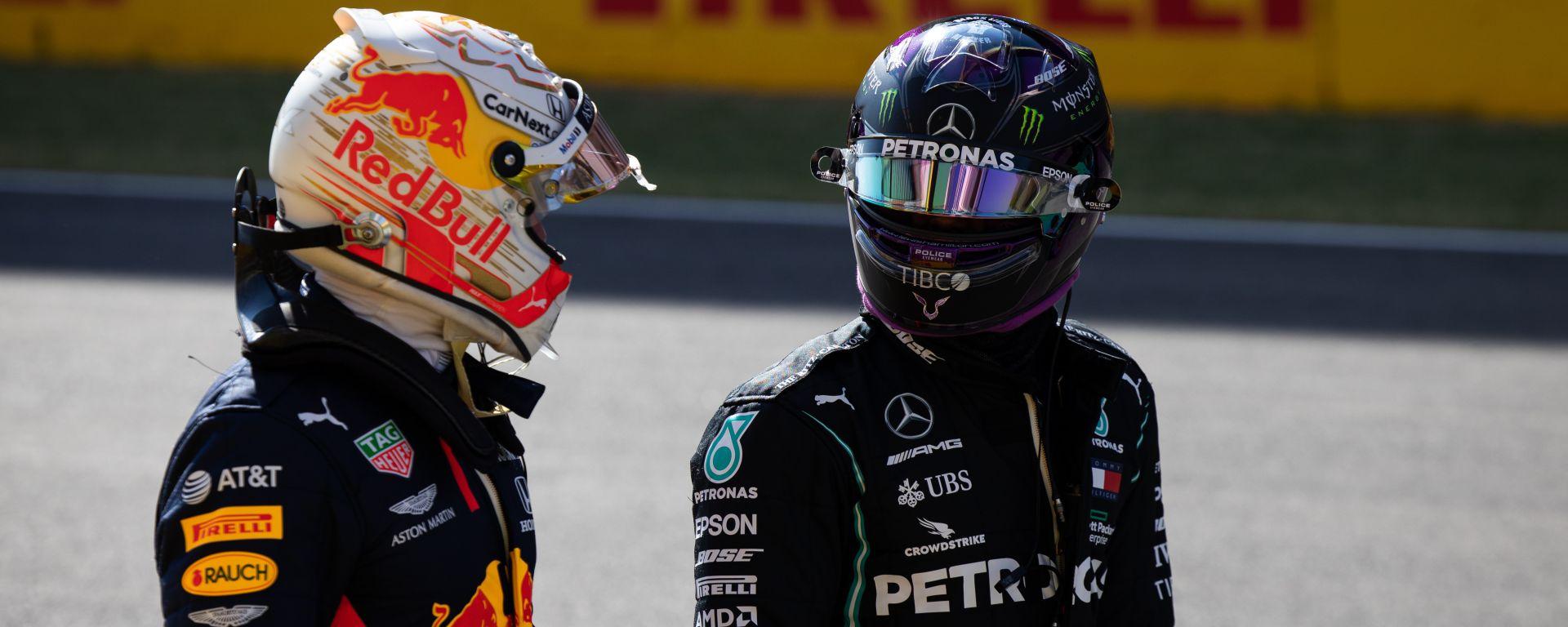 F1, GP Toscana 2020: Max Verstappen (Red Bull) e Lewis Hamilton (Mercedes)