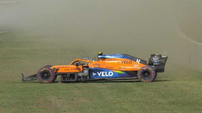 F1 GP Toscana 2020, Mugello: l'incidente di Lando Norris (McLaren) in PL2