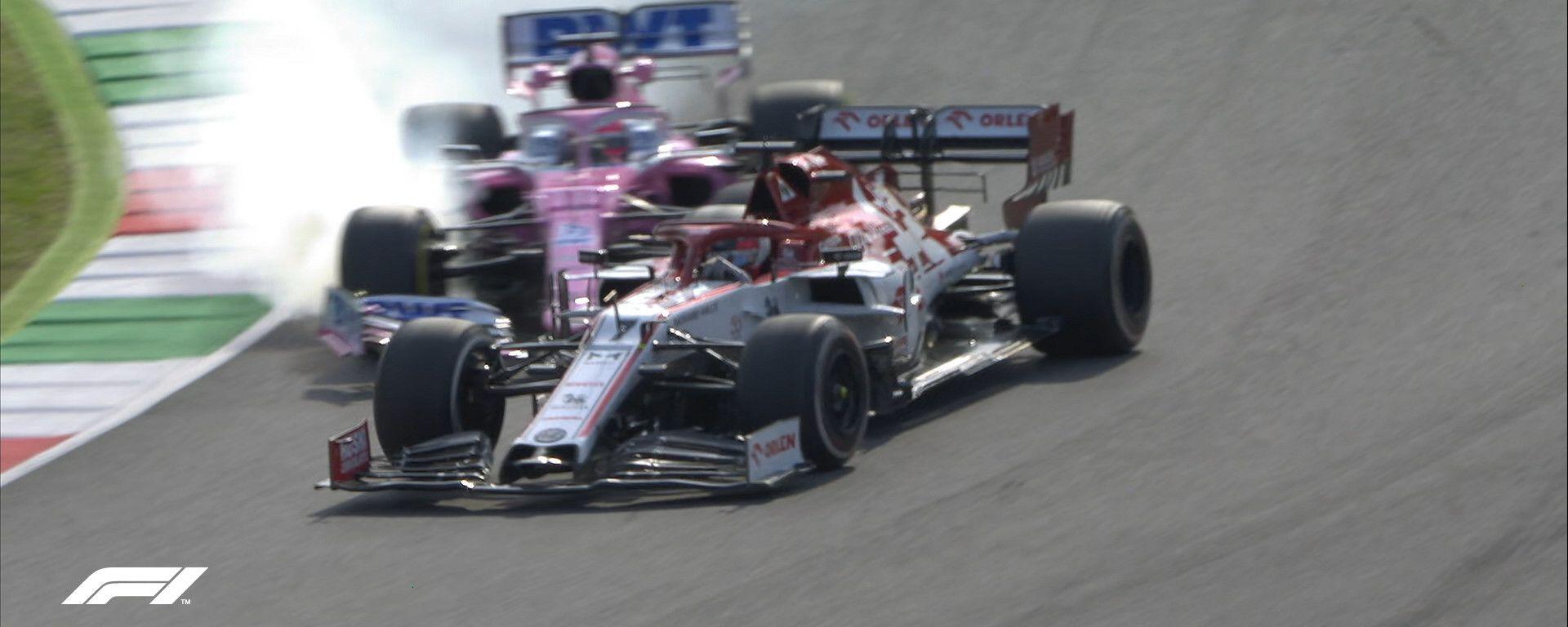 F1 GP Toscana 2020, Mugello: l'incidente di Perez (Racing Point) e Raikkonen (Alfa Romeo)