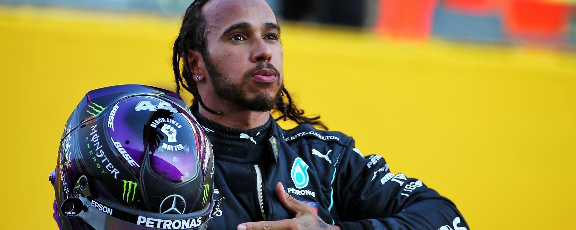 F1, GP Toscana: Lewis Hamilton (Mercedes) festeggia la vittoria
