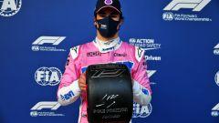 F1 GP Turchia 2020, Istanbul: Lance Stroll (Racing Point) con il trofeo della pole position
