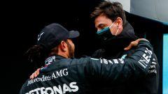 F1 GP Turchia 2020, Istanbul: Lewis Hamilton e Toto Wolff (Mercedes AMG F1)
