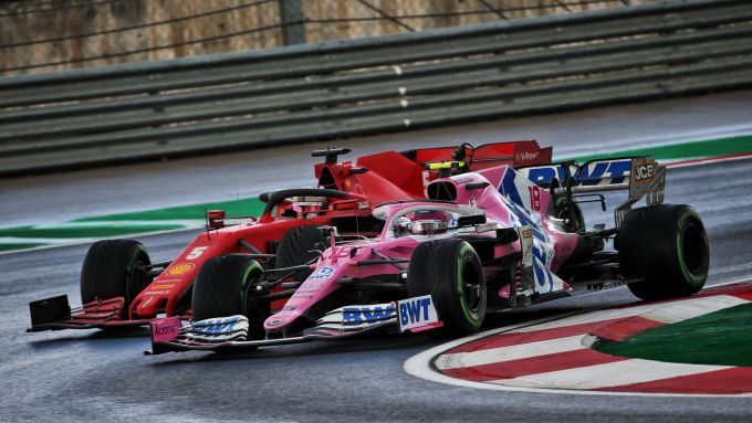 F1 GP Turchia 2020, Istanbul: Sebastian Vettel (Scuderia Ferrari) attacca Lance Stroll (Racing Point)
