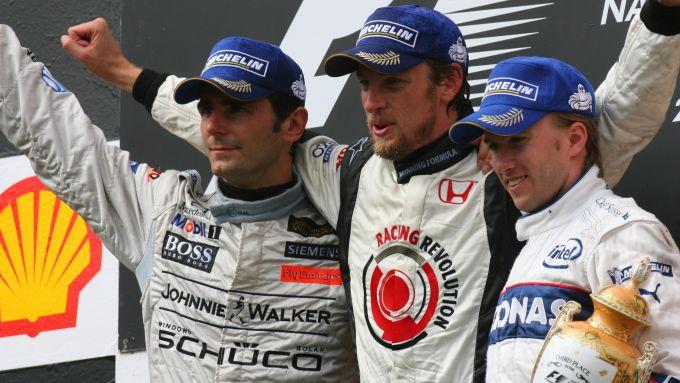 F1, GP Ungheria 2006: il podio con Pedro de la Rosa (McLaren), Jenson Button (Honda) e Nick Heidfeld (Sauber)