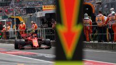 F1 GP Ungheria 2019, Budapest: Leclerc (Ferrari) in pit-lane