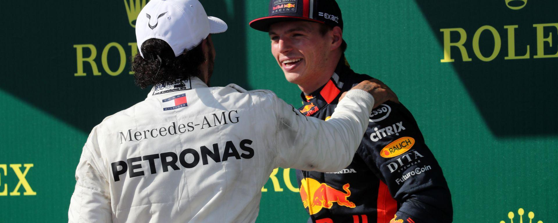 F1 GP Ungheria 2019, Budapest: Verstappen (Red Bull) e Hamilton (Mercedes)