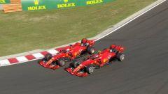 F1 GP Ungheria 2019, il rischioso sorpasso di Vettel su Leclerc (Ferrari) a un giro dalla fine