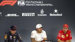 F1 GP Ungheria 2019, Max Verstappen (Red Bull), Lewis Hamilton (Mercedes) e Sebastian Vettel (Ferrari) in conferenza