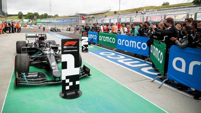 F1 GP Ungheria 2020, Budapest: Lewis Hamilton (Mercedes) dopo il traguardo