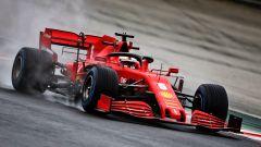 F1 GP Ungheria 2020, Budapest: Sebastian Vettel (Ferrari) sotto la pioggia nelle PL2
