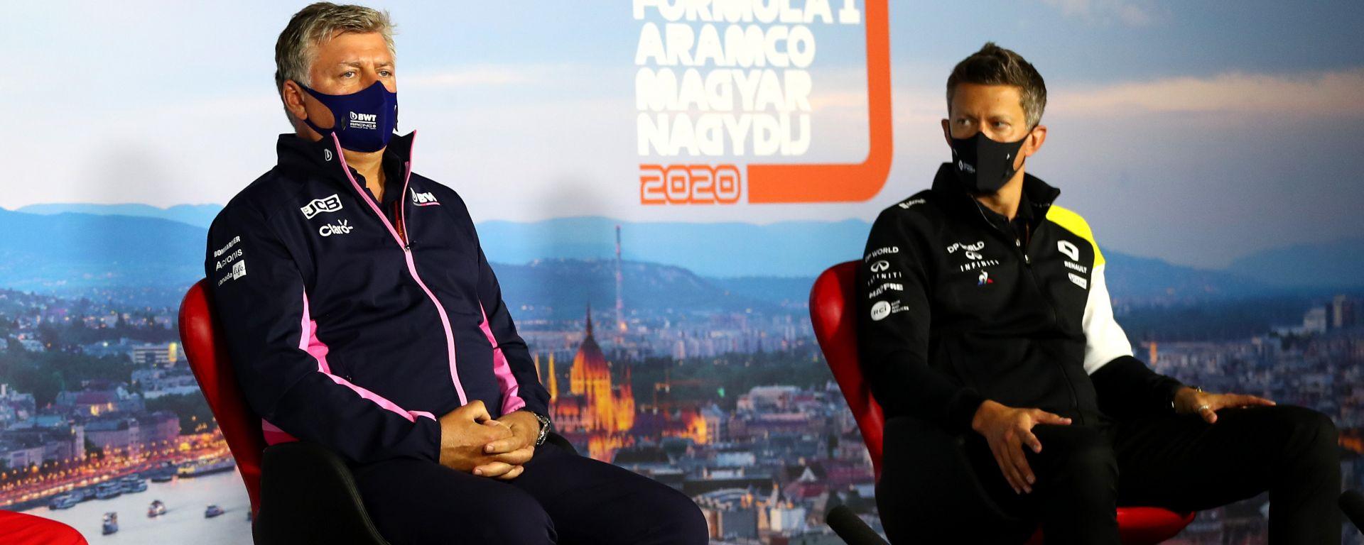 F1, GP Ungheria 2020: Mattia Binotto (Ferrari), Otmar Szafnauer (Racing Point) e Marcin Budkowski (Renault) in conferenza stampa