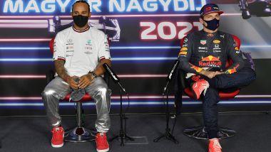 F1 GP Ungheria 2021, Budapest: Hamilton (Mercedes) e Verstappen (Red Bull) in conferenza stampa