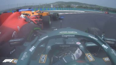 F1 GP Ungheria 2021, Budapest: Lance Stroll (Aston Martin) finisce addosso a Charles Leclerc (Ferrari)