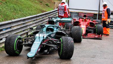 F1 GP Ungheria 2021, Budapest: le monoposto incidentate di Stroll (Aston Martin) e Leclerc (Ferrari)