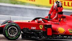 Ferrari, motore Leclerc KO dopo l'incidente con Stroll